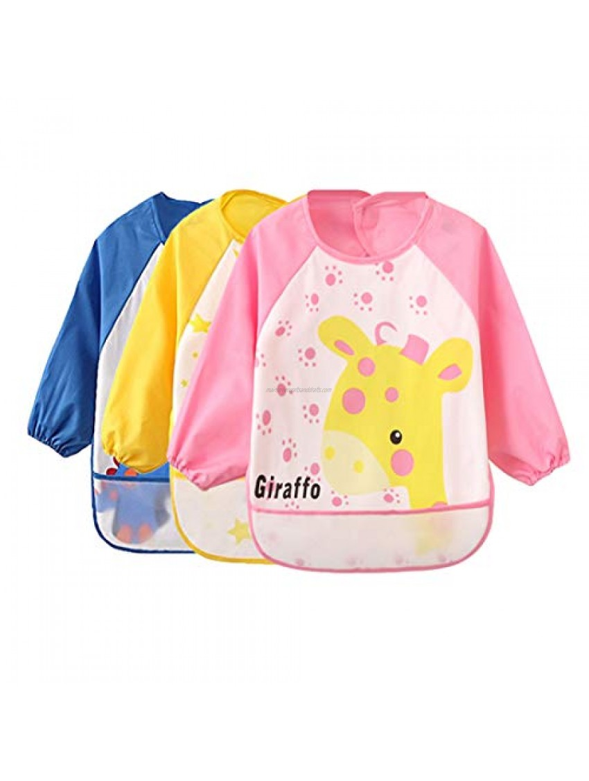 Baby Bibs Waterproof and Wipeable-Eat and Play Smock Apron(6-36 Months) …