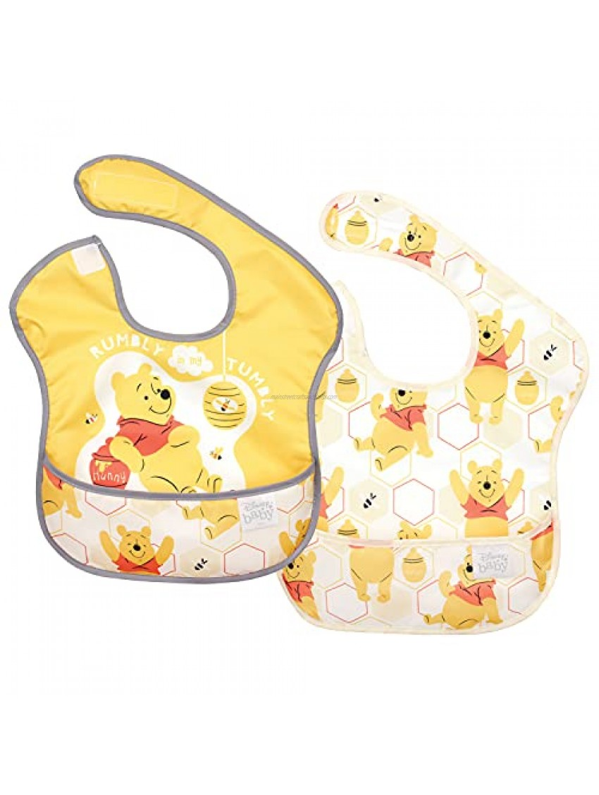 Bumkins Disney Winnie The Pooh SuperBib  Baby Bib  Waterproof  Washable  Stain and Odor Resistant  6-24 Months (Pack of 2) - Hunny