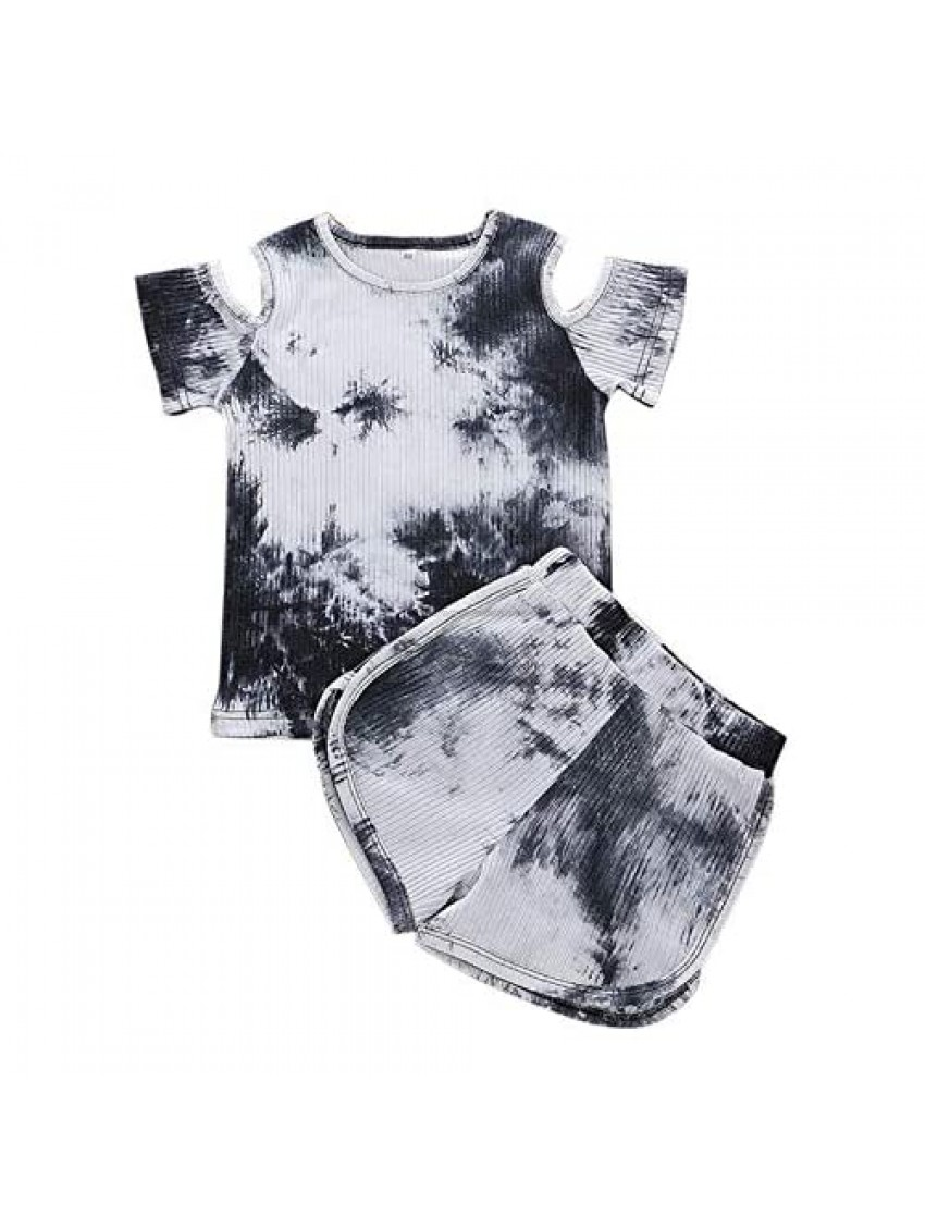 Toddler Summer Short Outfit Clothes Kids Baby Girls Short Sleeve Tie-Dye Print T-Shirt Shorts Outfits Set