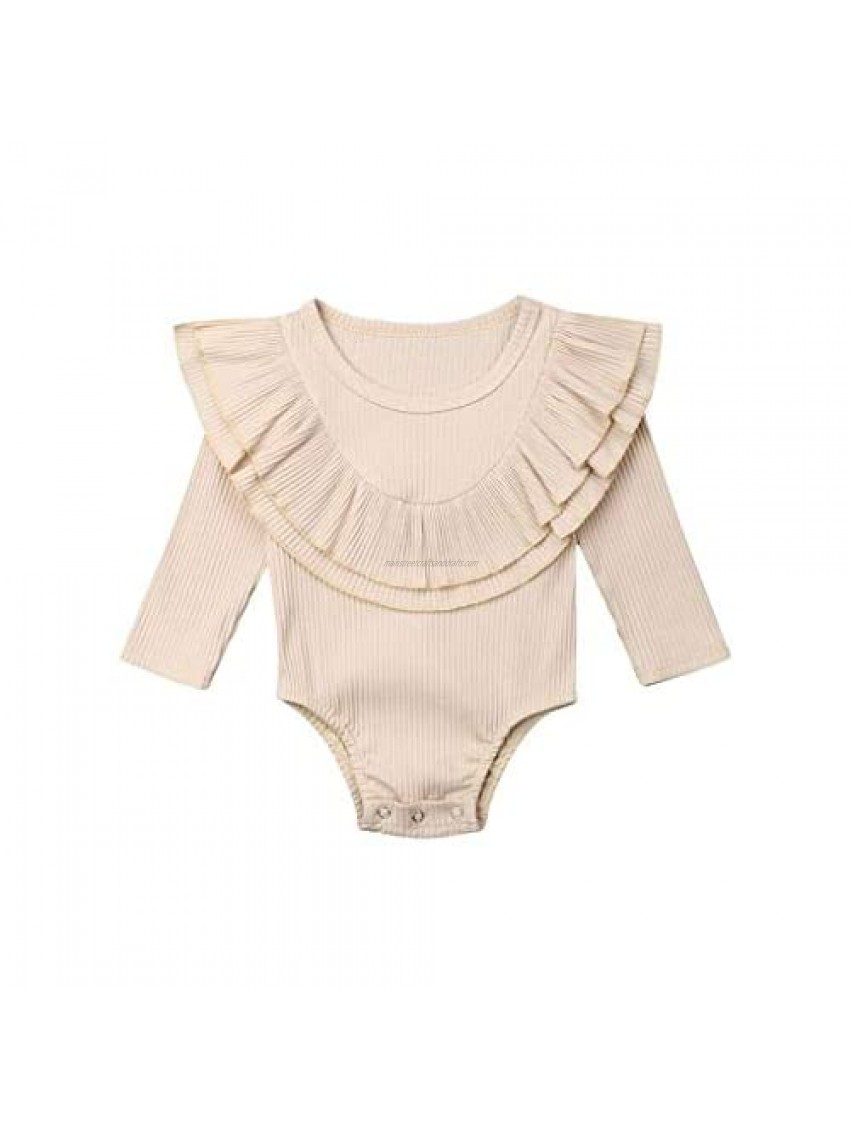 WOCACHI Baby Girls Romper  Toddler Infant Double Ruffle Neck Knit Rib Solid Long Sleeve Doll Collar Bodysuit Onesies