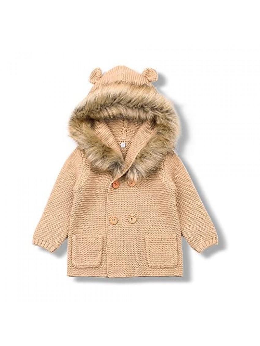 mimixiong Baby Cardigan Sweater Jacket Cartoon Hoodies Long Sleeve Coats with Fake Fur