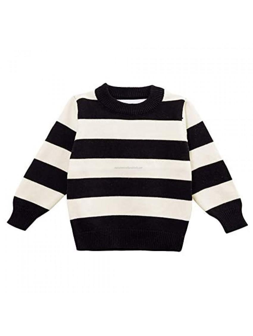 Moonnut Baby Boys Crewneck Striped Pullover Sweater Soft Winter Tops Knitwear