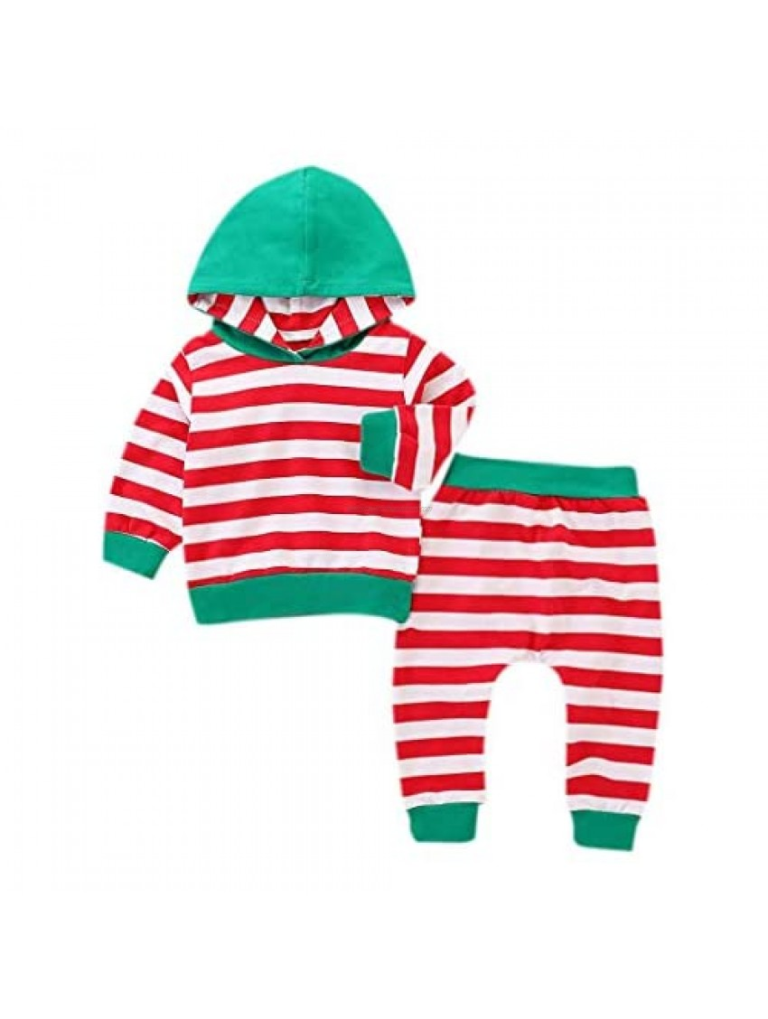 Infant Baby Toddler Boy Girl Clothes Outfit Set Fall Winter New Long Sleeve Striped Hooded Top +Long Pants 1-4T