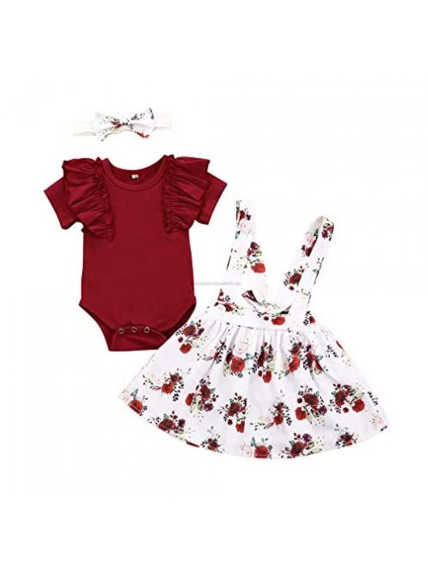 Newborn Baby Girl Outfits Short Sleeve Romper Jumpsuit Bodysuit +Floral Short Skirt +Headband Summer Clothes Set