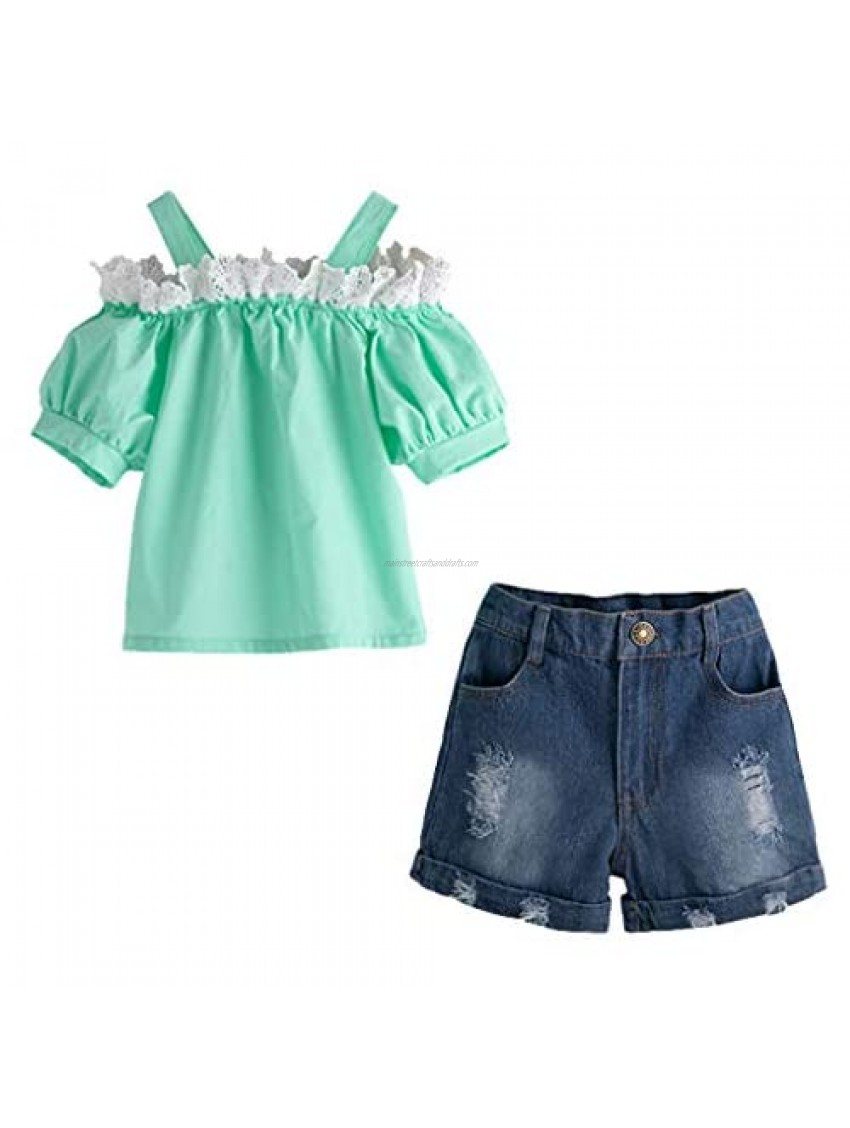 Toddler Baby Girls Lace Off Shoulder Tops +Denim Jeans Shorts Outfits Casual Set