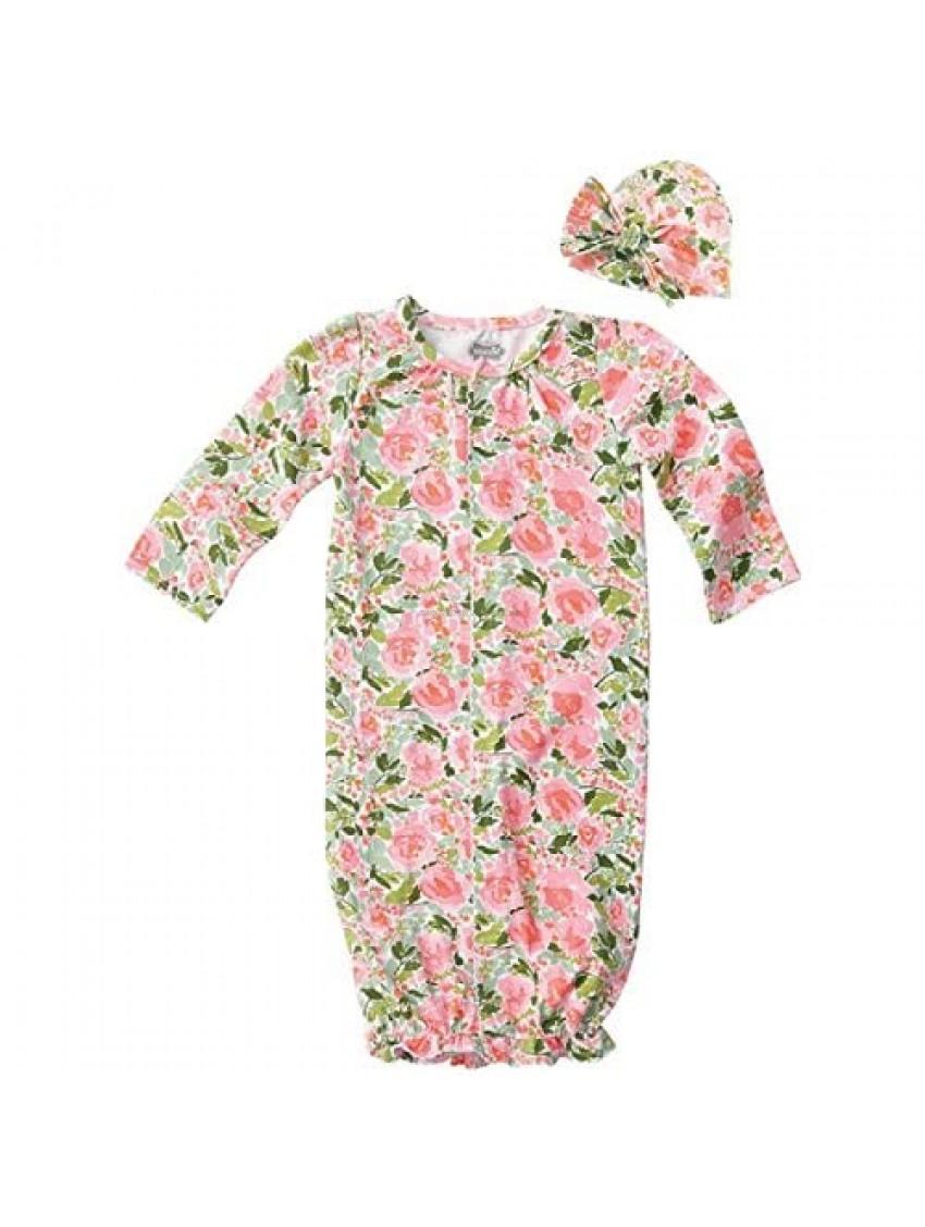 Mud Pie Baby Girls Floral Convertible Sleepgown & Hat Set