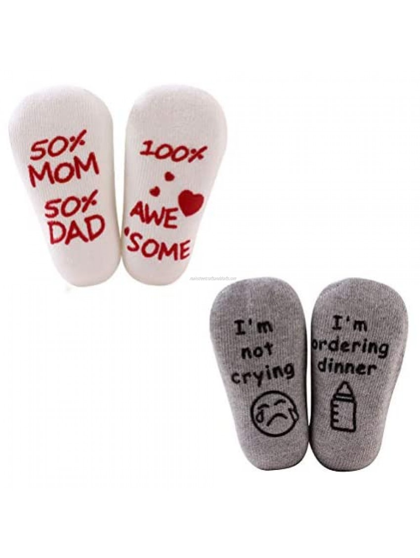 2Pairs Baby Socks 50% Mom And 50% Dad 100% A We/I'm Not Crying I'm Ordering Dinner Funny Sayings Socks Anti-slip Baby Christmas Gifts Unisex Boy Girl Newborn Present 3-18 Month