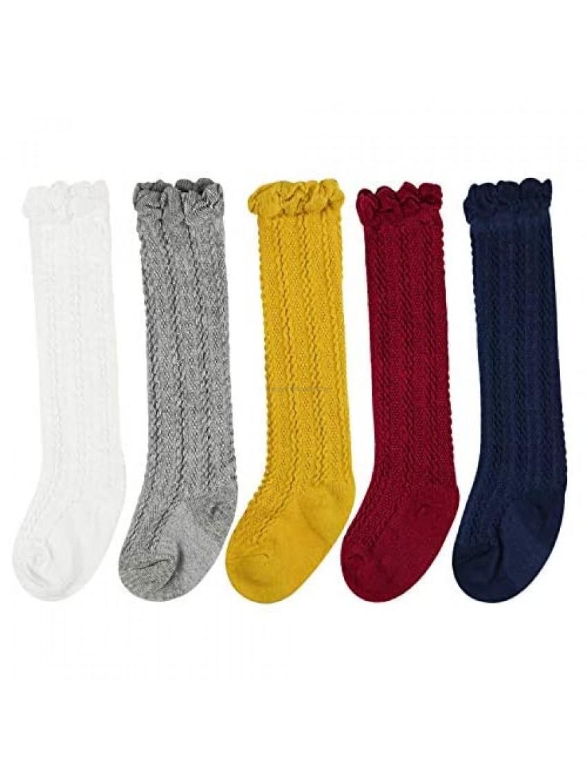 BQUBO Baby Girl Knee High Mesh Socks Toddler Cotton Summer Dress Sock Uniform Stockings Infant Ruffled Socks