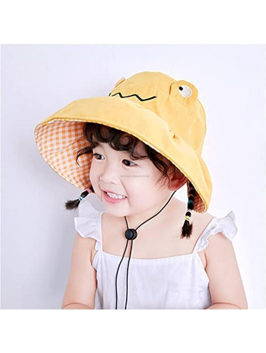 Korean Cute Foldable Baby Cap Outdoor Cartoon Frog Visor Hats Spring Summer Children Cloth Sun Hat Adjustable Girl Boy Sun Hat(Yellow)