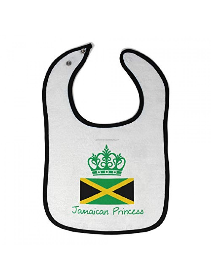 Custom Baby Bibs Burp Cloths Jamaican Princess Crown Cotton Baby Items for Baby Girl & Boy White Black Design Only