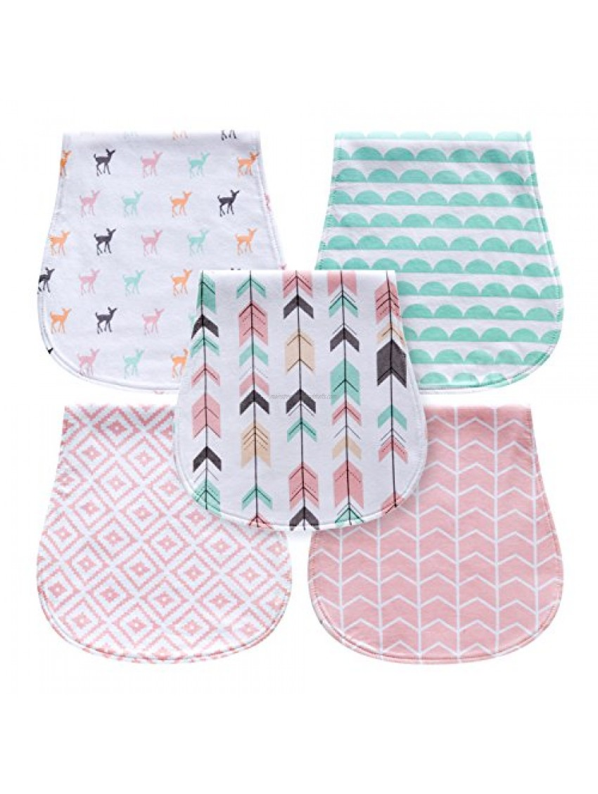 5-Pack Baby Burp Cloths for Girls  Triple Layer  100% Organic Cotton  Soft and Absorbent Towels  Burping Rags for Newborns Set by MiiYoung (Woodland)