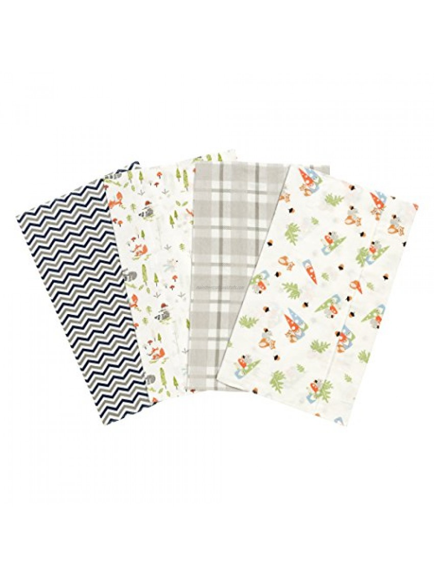 Trend Lab Woodsy Gnomes 4 Pack Flannel Burp Cloth Set