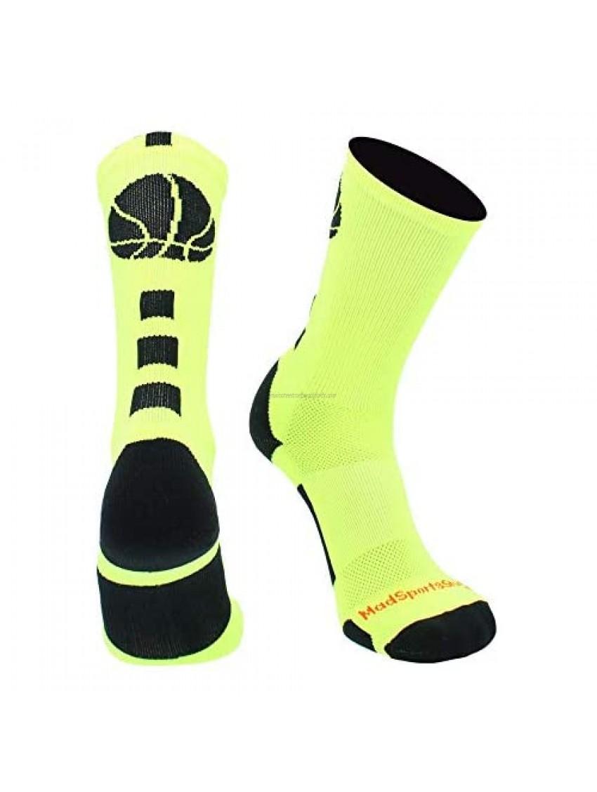 MadSportsStuff Basketball Logo Athletic Crew Socks  Medium - Neon Yellow/Black