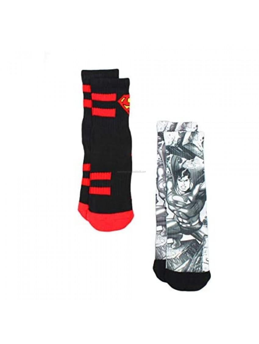 Superman Boys 2 pack Athletic Socks (6-8 Boys (Shoe: 10.5-4)  Superman Black/White