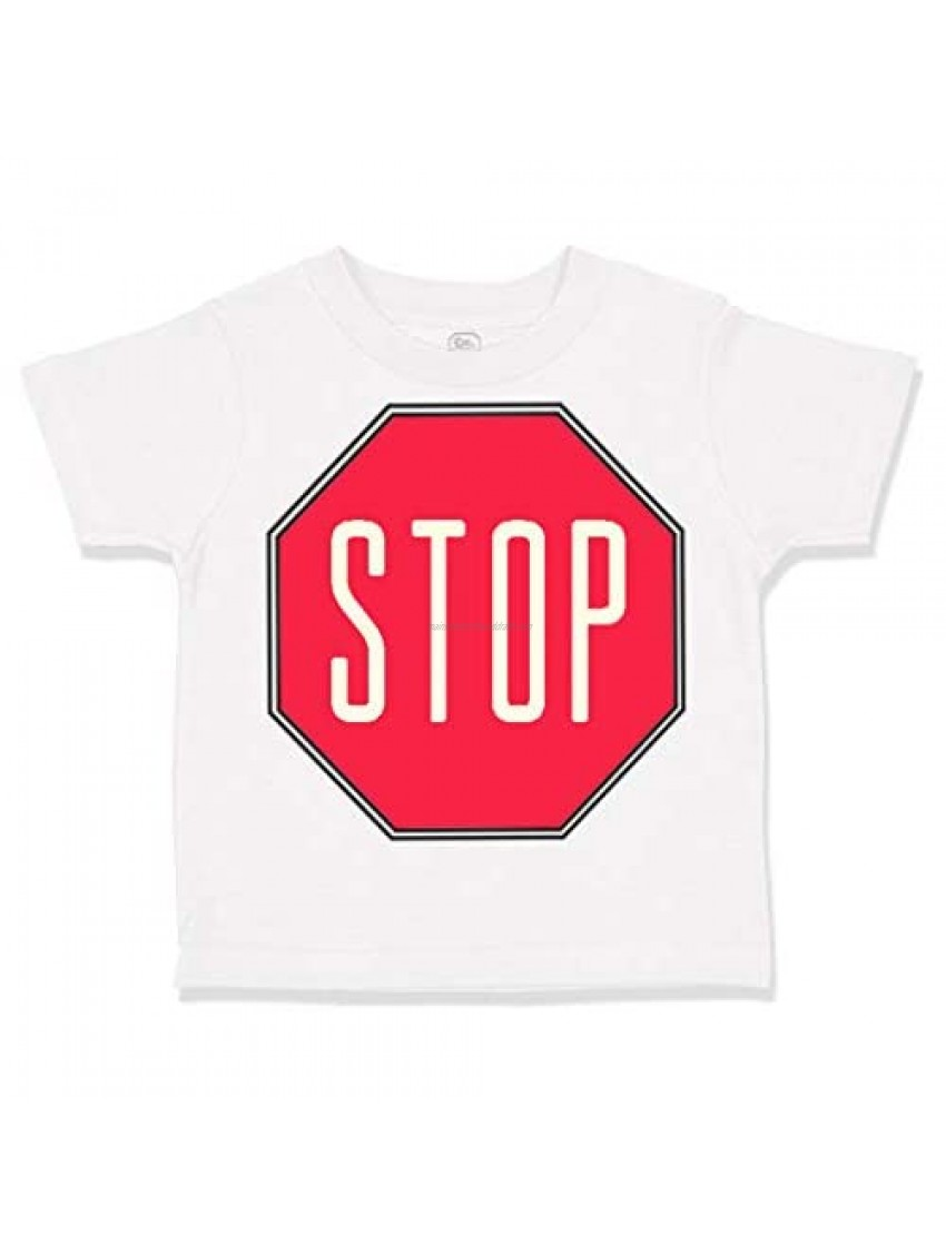 Custom Toddler T-Shirt Red Stop Sign Funny Humor Cotton Boy & Girl Clothes