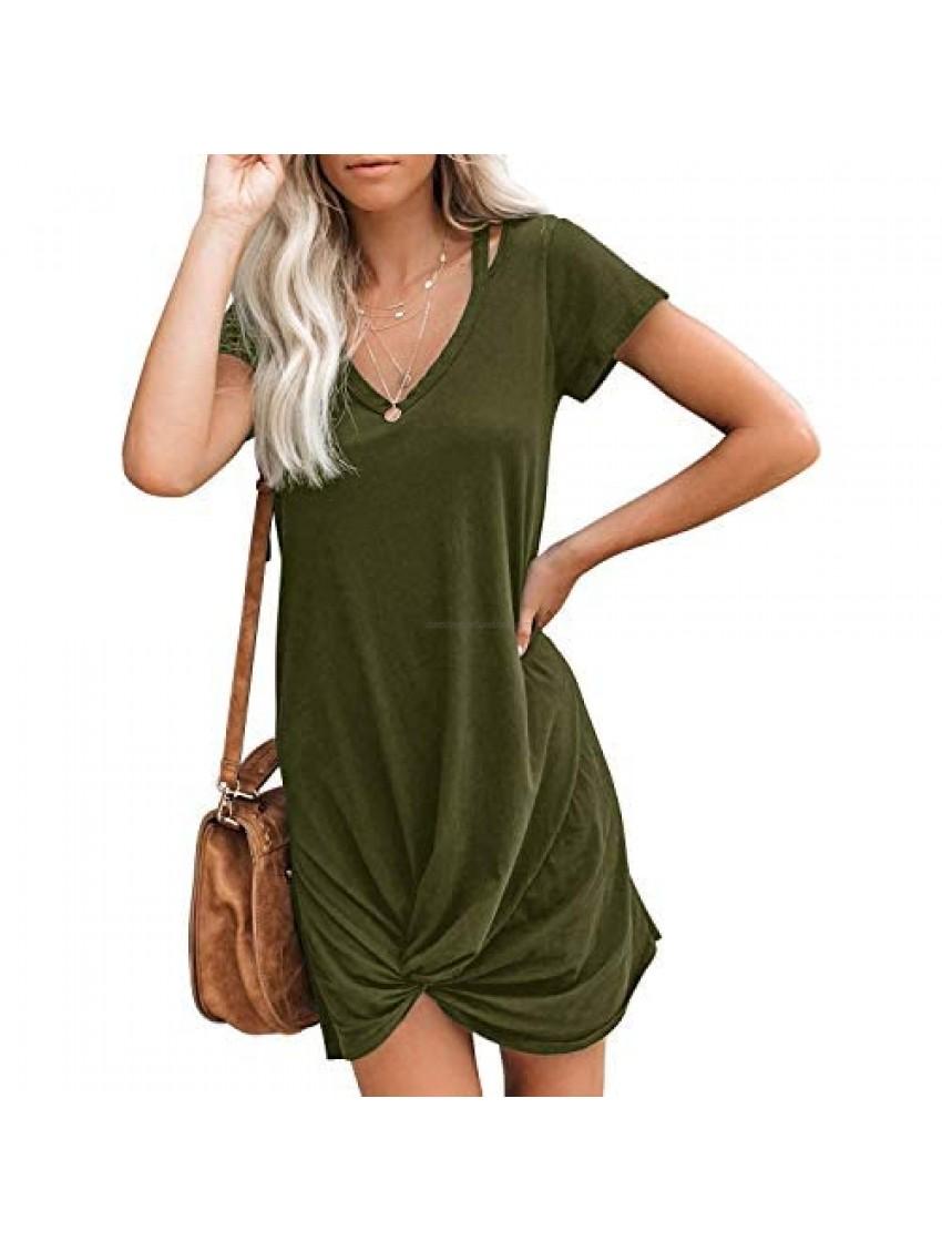 Berryou Women Short Sleeve Loose Summer Dress V Neck Front Knot Twist Tie Ultra-Soft Casual Dresses Trendy 2021
