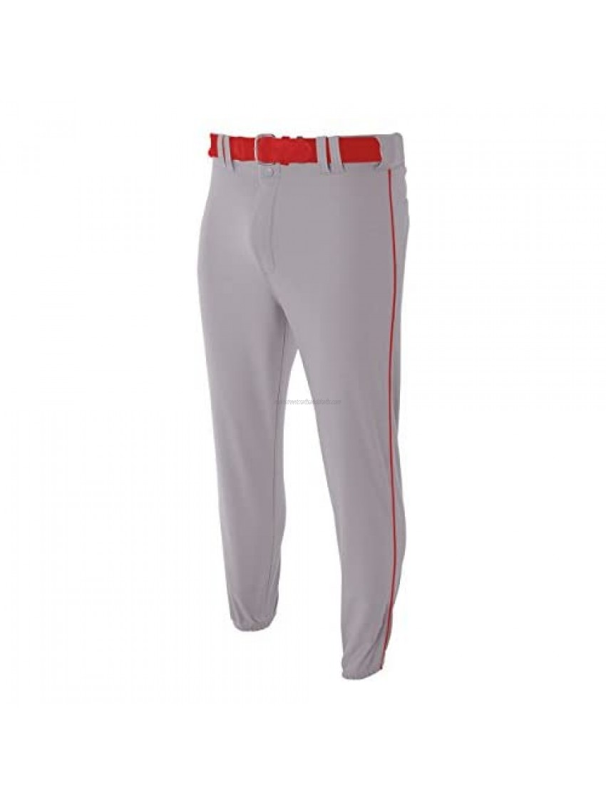 A4 Sportswear Youth Large Grey with Red Side Piping Baseball/Softball Baggy Pants