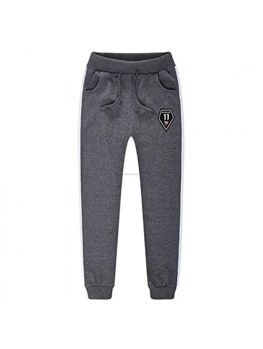 AMEBELLE Boys Active Jogger Sweatpants Casual Elastic Striped Athletic Pants for 4T-12 Kids(0070-DarkGrey-6/7Y)