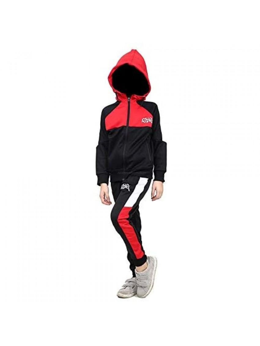 Kids Boys Girls GDR Tracksuit Contrast Panel Hooded Top & Bottom Gym Sportswears
