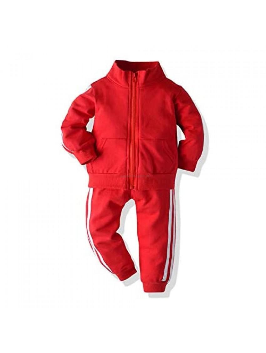 Loodgao Kids Boys Girls Toddler Sweatshirt Jacket and Sweatpants with Pocket 2 Piece Tracksuit Spring Autumn Clothes Set