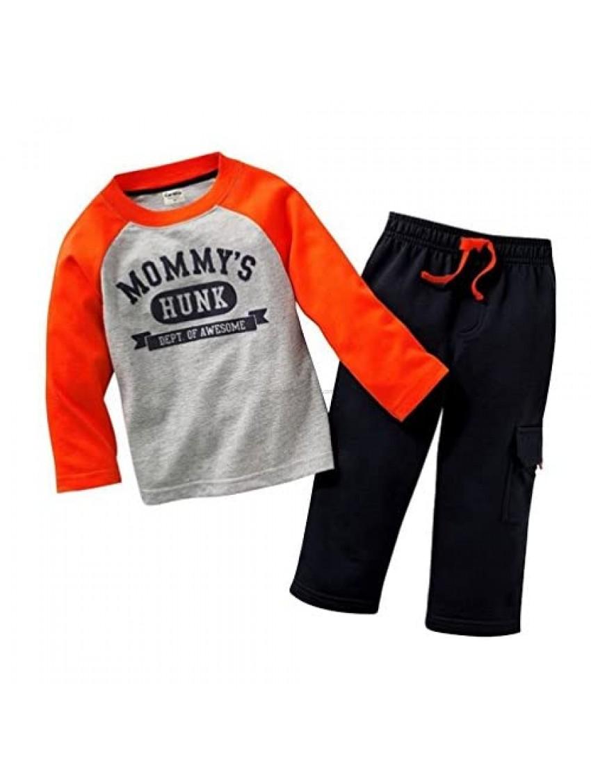 Coralup Little Boys and Girls Truck Lapel T-Shirt & Pants 2pcs Set A911(18M Blue)