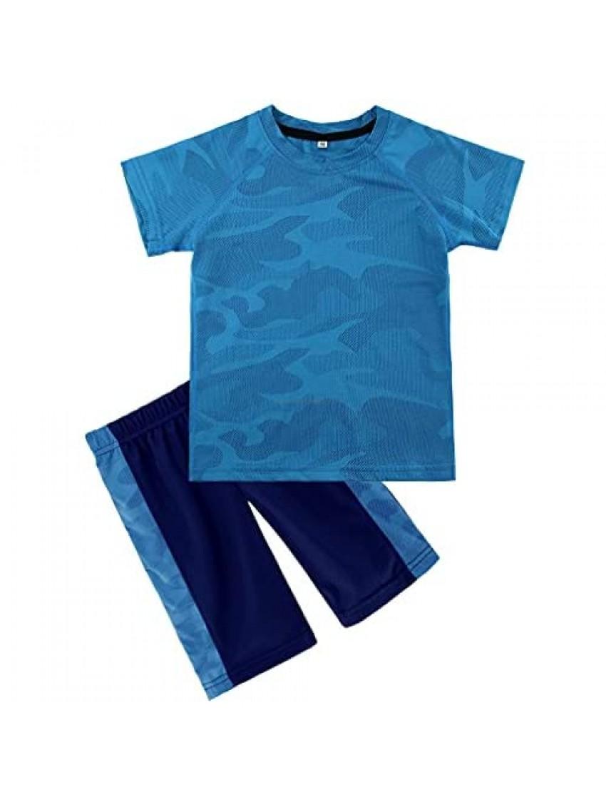KISBINI Big Boys Breathable Summer Clothes Short Sleeve Camouflage T-Shirt and Shorts Set