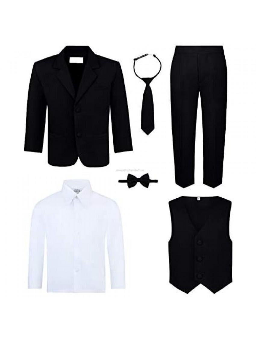 Boy's 6-Piece Suit Set - Includes Suit Jacket  Dress Pants  Matching Vest  White Dress Shirt  Neck Tie & Bow Tie