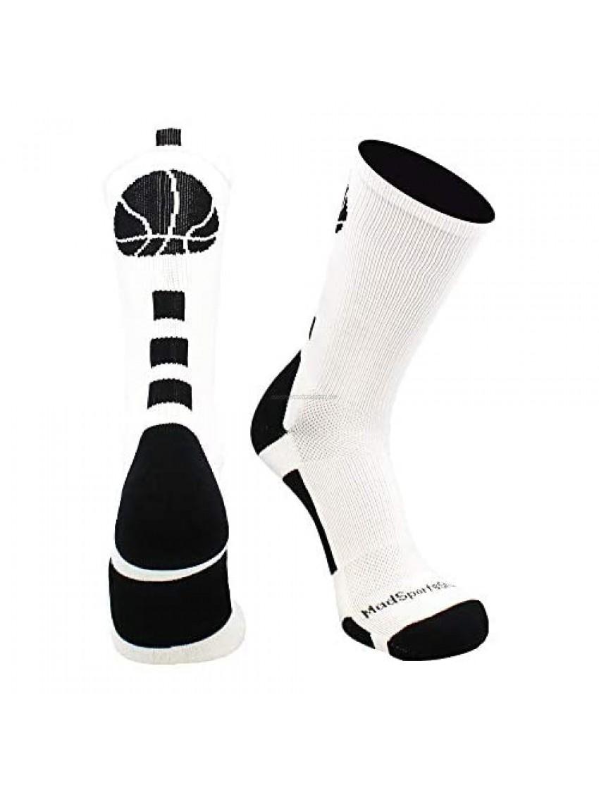 MadSportsStuff Basketball Logo Athletic Crew Socks  Small - White/Black