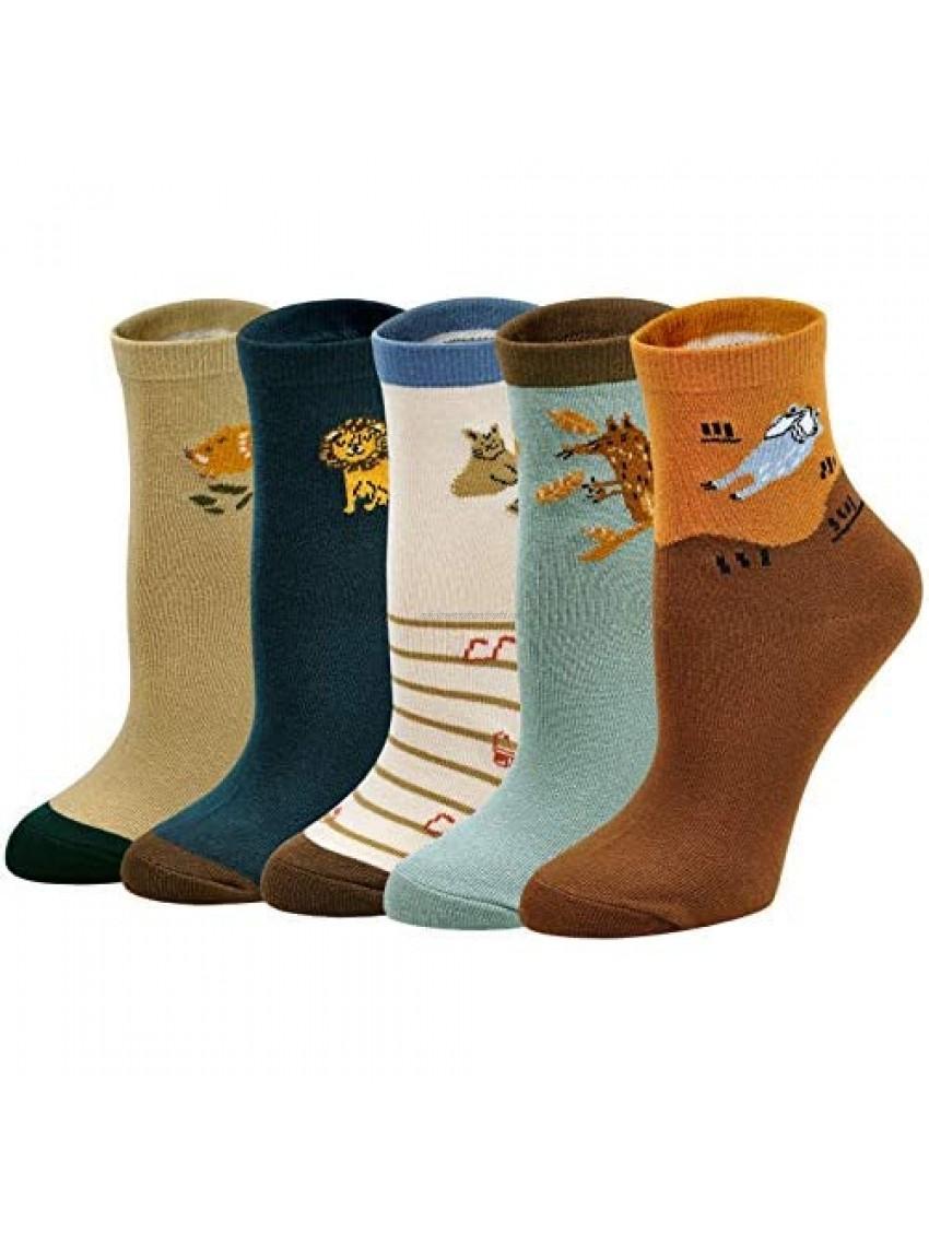 ZAKASA Kids Boy Socks Fashion Car Animal Cotton Socks for Children Toddler Students(5pairs 2-13Y,S-XL)