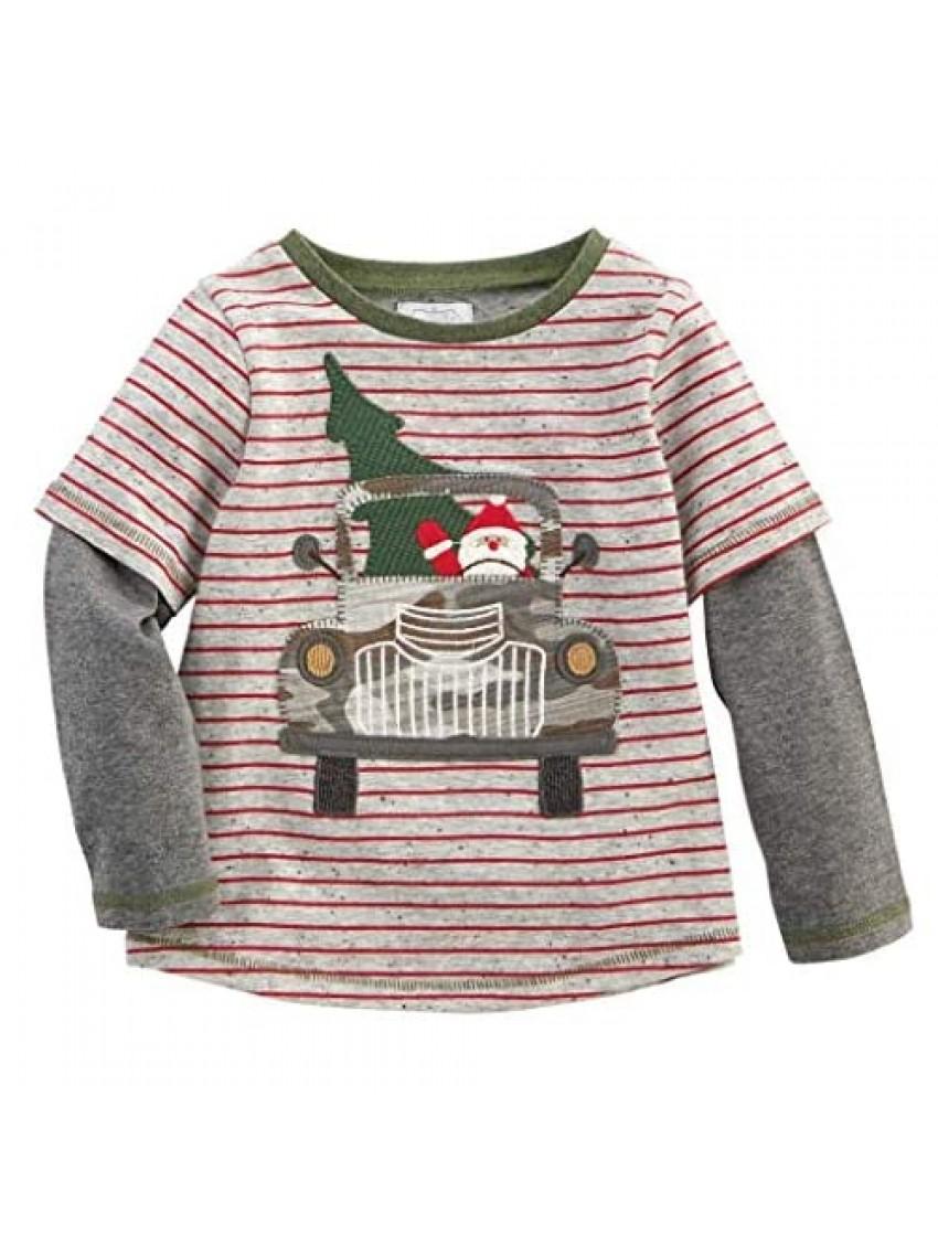 Mud Pie Kids Boys Sheldon Christmas T-Shirt Santa in Red Truck Tee Shirt