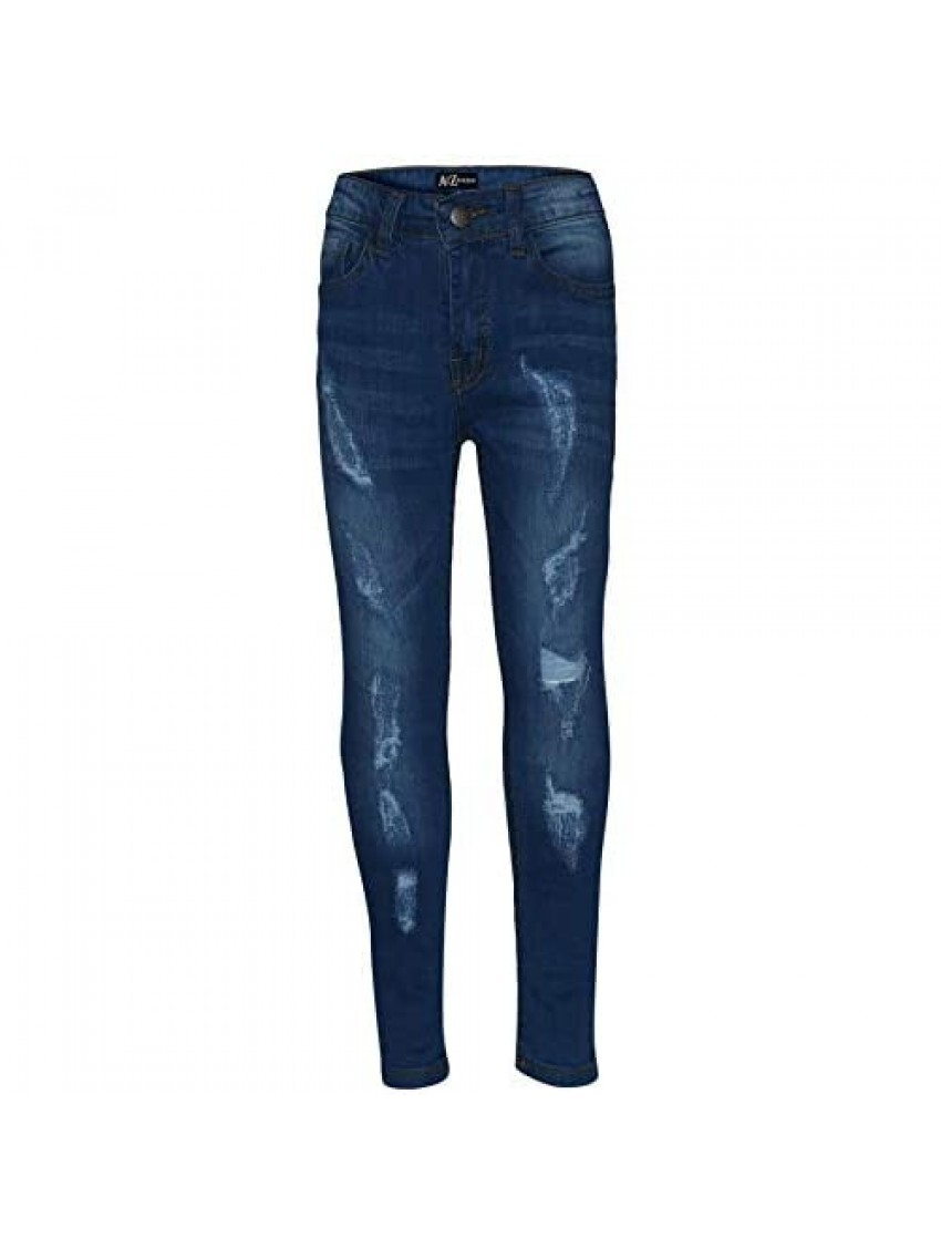 Boys Stretchy Jeans Kids Ripped Denim Skinny Jeans Pants Trousers Age 5-13 Years
