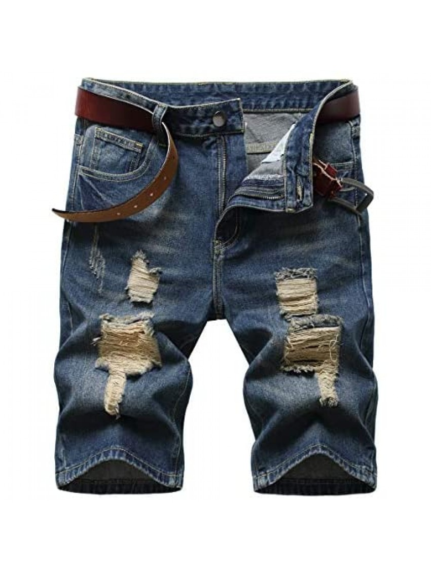 CLOTPUS Men's Casual Ripped Jeans Shorts Stretchy Side Color Ribbon Denim Shorts Striped