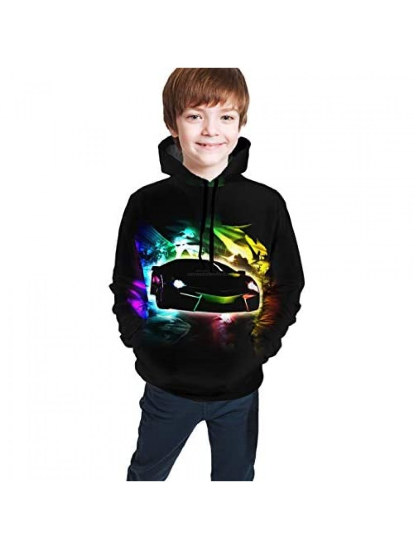 JETEZ Kid's/Youth Hoodies Super Sports Car 3D Printing Unisex Pullover Hooded Sweatshirts for Boys/Girls