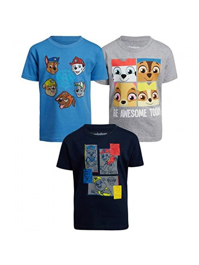 Nickelodeon Boys Paw Patrol 3 Pack T-Shirts - Chase  Marshall  Rubble  Ryder(Toddler/Little Boys)