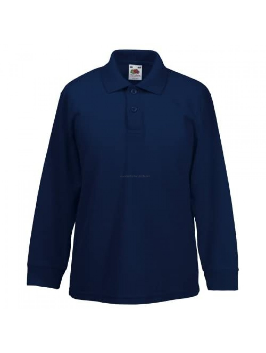 Fruit Of The Loom Childrens Long Sleeve Polo Shirts