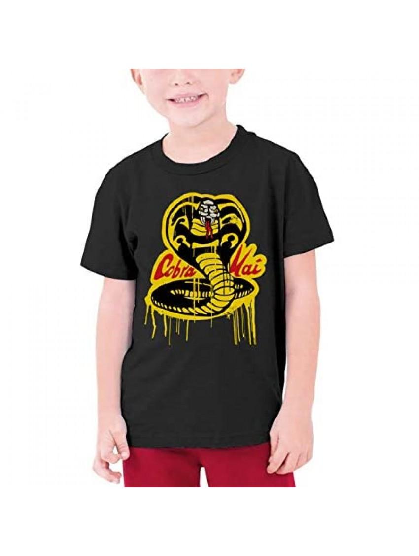 GODDOGKO Youth CobraT-Shirt Teens Boys Short Sleeve Cotton Kids Shirt