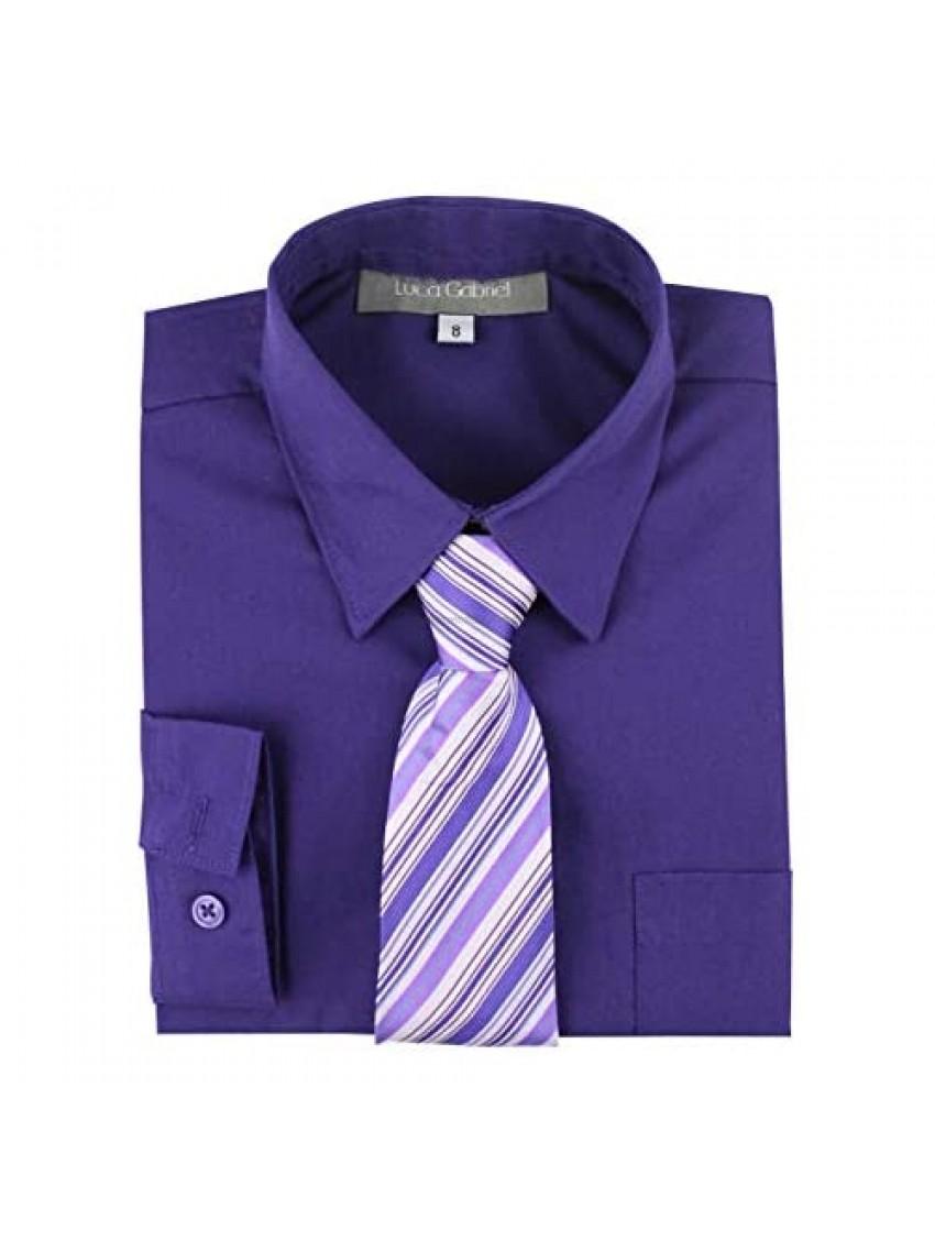 Luca Gabriel Toddler Boy's Long Sleeve Formal Button Down Dress Shirt & Tie Set