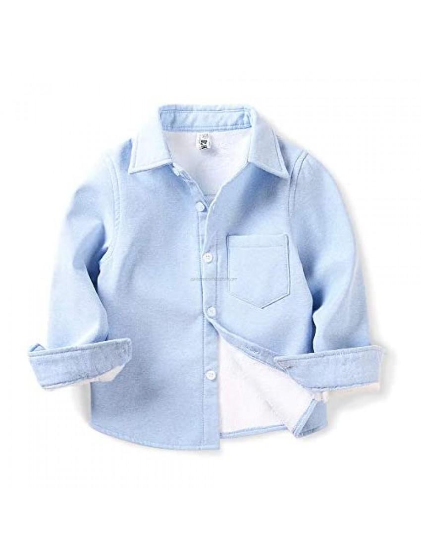 OCHENTA Boys' Fleece-Lined Oxford Shirt  Little Big Kids Long Sleeve Warm Top