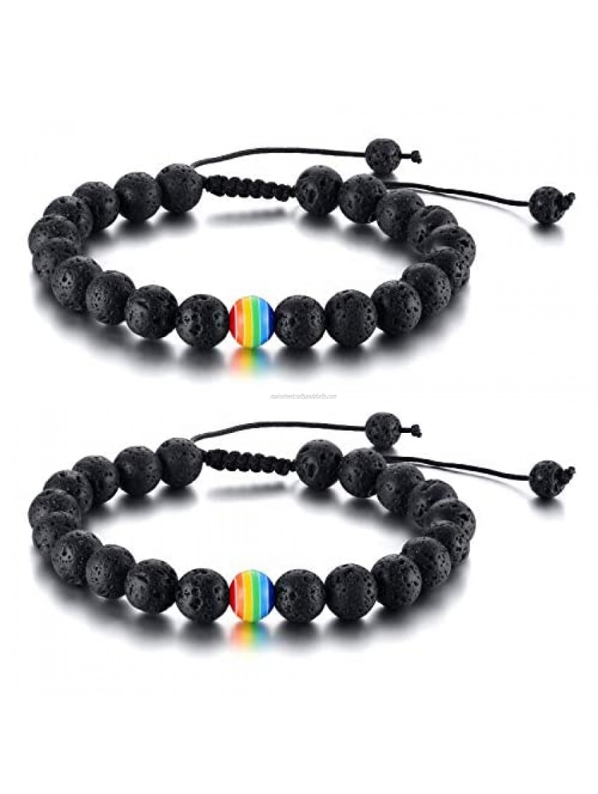 Nanafast 8mm Beaded 2Pcs Couple Rainbow LGBTQ Pride Bracelets for Gay & Lesbian White Turquoise/Lava Rock/Matte Agate LGBT Pride Braided Bracelet Jewelry Gift Adjustable