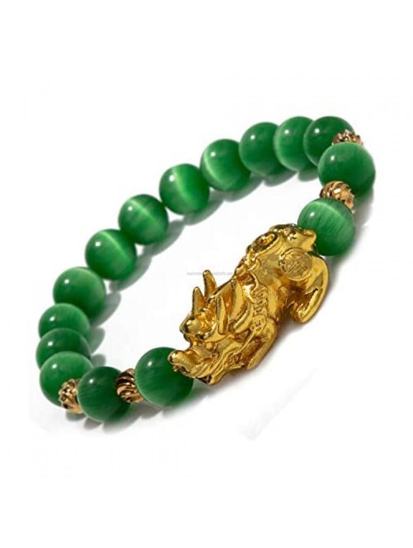 ZenBless Feng Shui Bracelet for Women Natural Tiger Eye Bracelet 18k Gold Plated Pixiu Bracelet Yoga Mala Beads Good Luck Friendship Bracelets for Women
