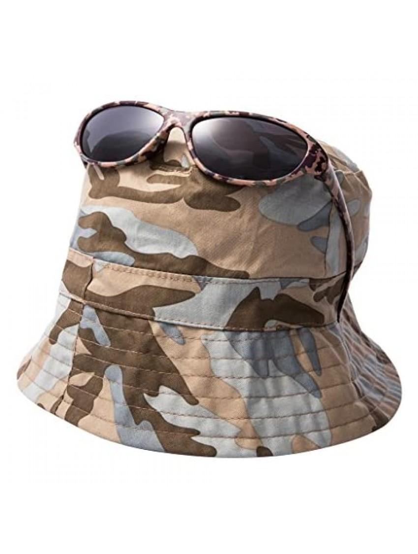 EYEGUARD UV400 Boy's Kids Sunglasses and Jungle Camouflage Sun Hats Combo Children(5-12 years old)