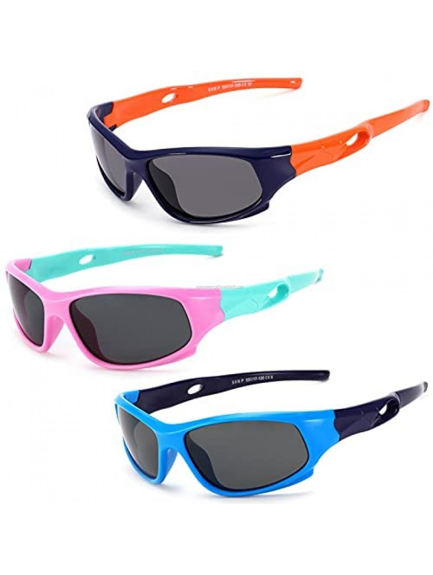 TR90 Unbreakable Flexible Polarized Sports Sunglasses for Kids Boys & Girls with Glasses Strap Age 3-10