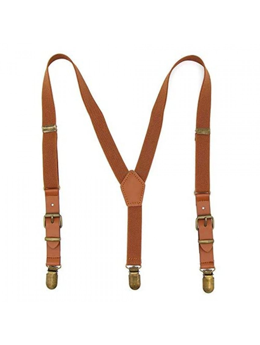Suspenders for Boys Elastic Kids Pant Suspenders Y Back Tuxedo Braces with Brown Leather and Bronze Clips for Baby Boy