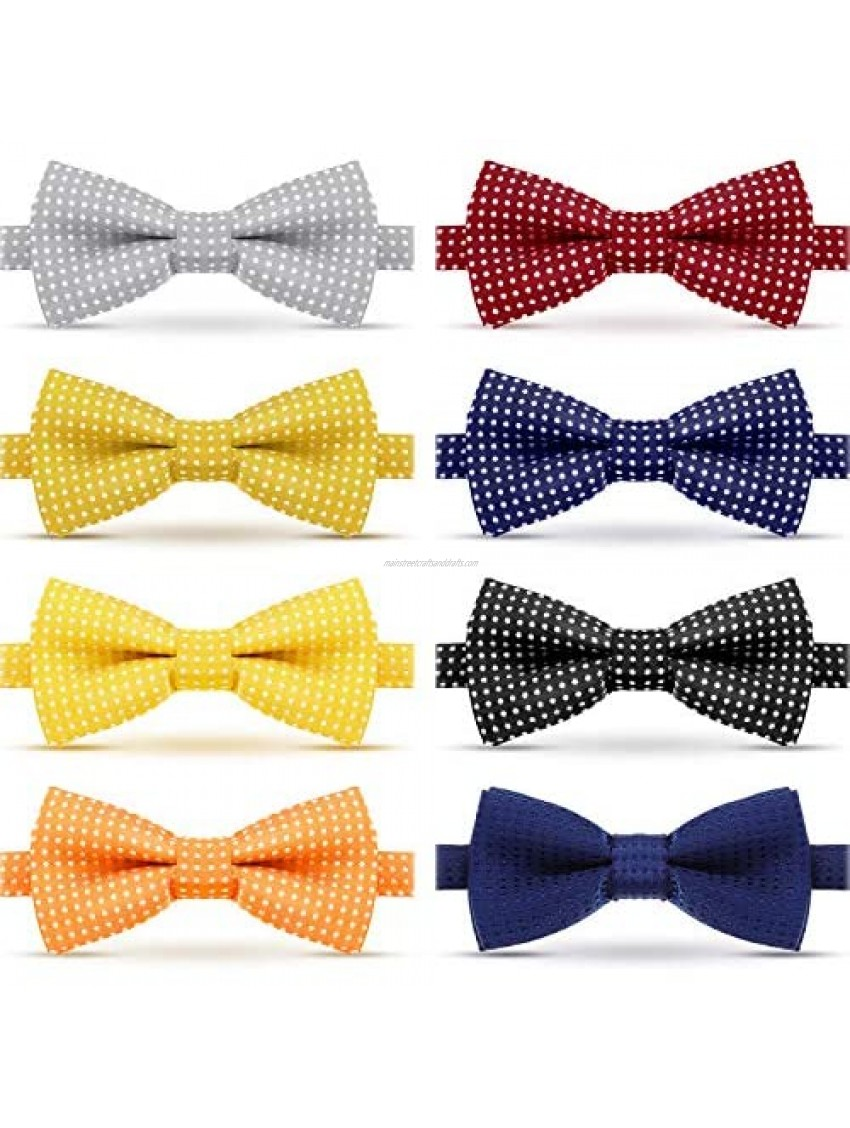 8 Piece Infants Adjustable Pre-tied Bow Tie Polka Dot Bowtie for Toddler Child