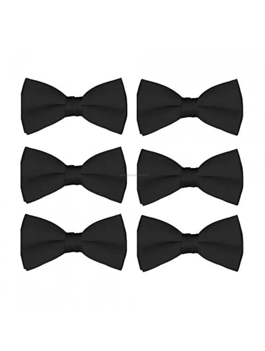 Boys Wedding Bow Tie 6 Pack Children Chorus Pre-Tied Bowties Kids Tuxedo Solid Ties