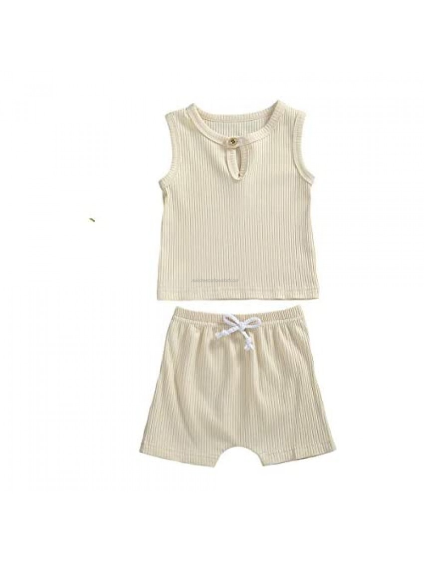 Baby Unisex Pajamas  Short Sleeve Top with Shorts Set 2 Piece Outfit  Organic Cotton Clothing Set for Infant Baby Boys Girls