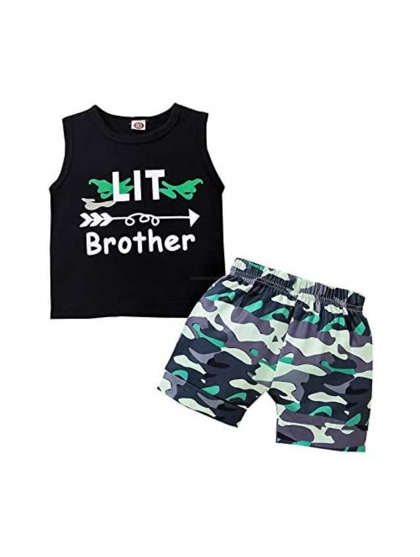 Summer Newborn Baby Toddler Boy Clothes Set Big Little Brother Outfit Letter Sleeveless Cotton Tops+Elastic Shorts 2PCS