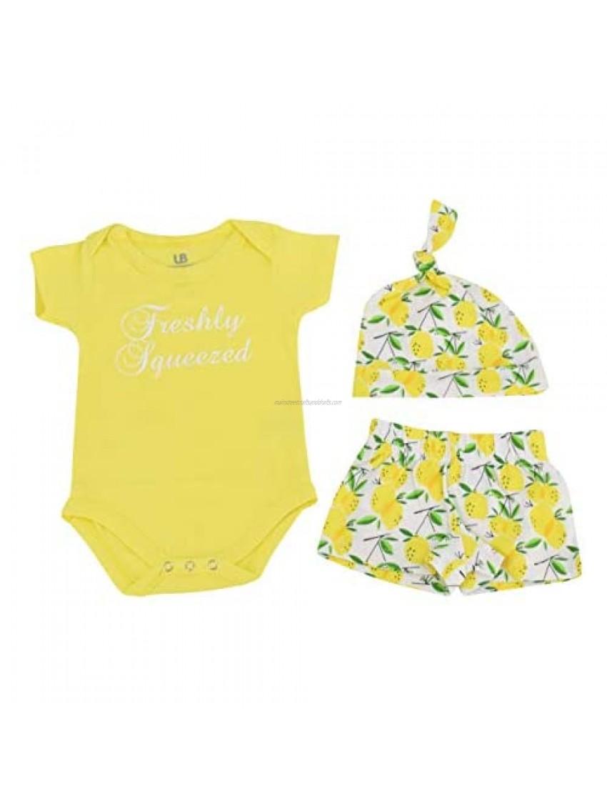 Unique Baby Boys Summer Lemon Print Onesie Shorts Cap 3 Piece Outfit Set