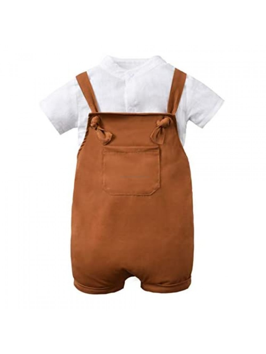 Unutiylo Baby Boys Clothes for Gentleman Outfits Toddler Overalls Baby Suspender Shorts and Bodysuit Romper