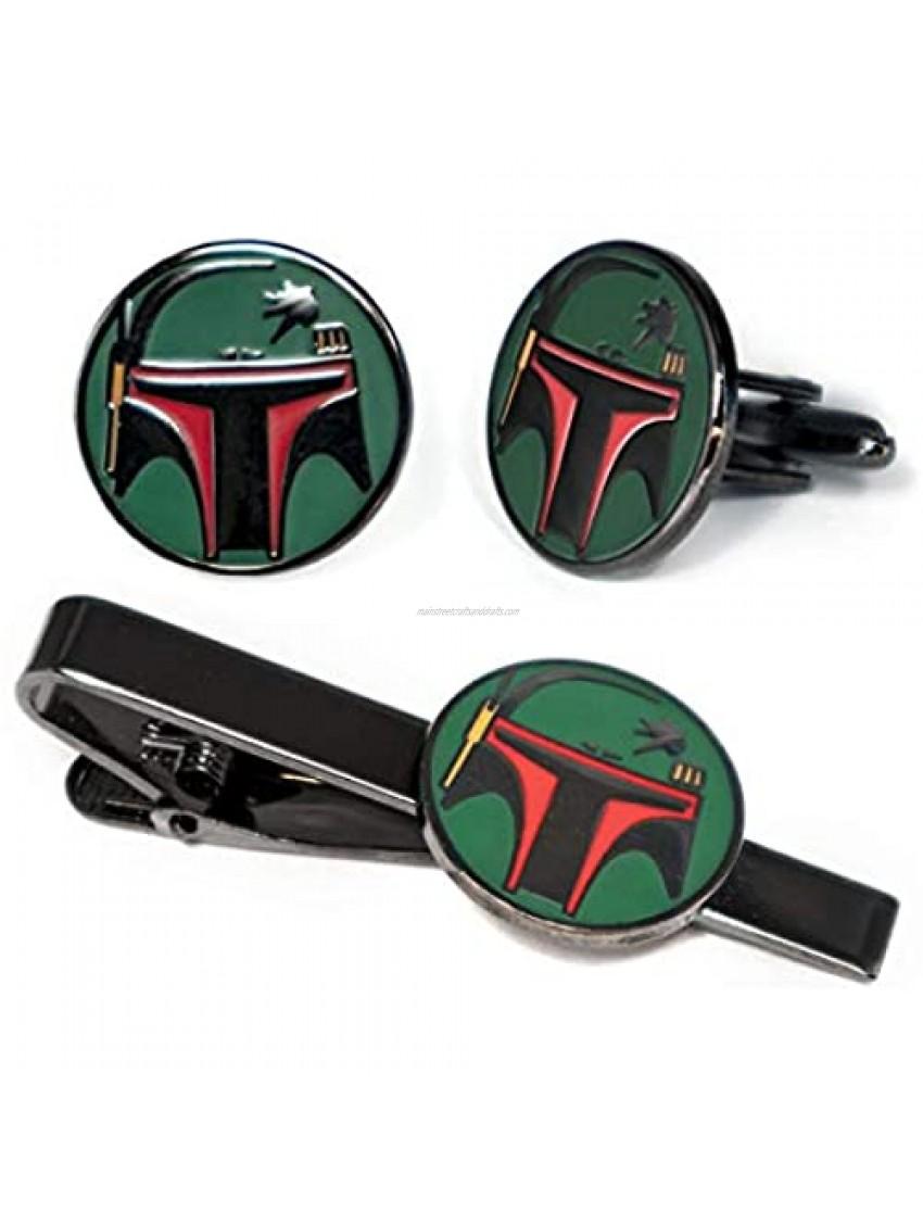 SharedImagination Boba Fett Cufflinks  Star Wars Tie Clip  Jedi Tie Tack Jewelry  Darth Vader Cuff Links  Stormtrooper Death Star Gift  Star Wars Wedding Party Groomsman Gifts